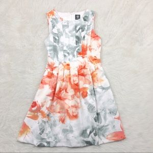 Vince Camuto Floral Grey Orange Dress